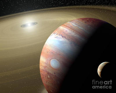 Digital Art - Jupiter And Moon by Mike Agliolo and Photo Researchers