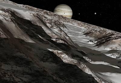 Jupiter From Ganymede, Artwork Art Print by Detlev Van Ravenswaay
