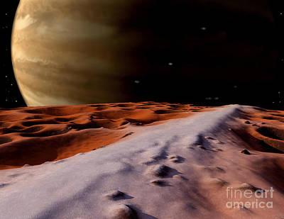 Inner World Digital Art - Jupiter Seen From The Surface by Ron Miller