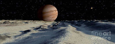 Surrealism Digital Art - Jupiters Large Moon, Europa, Is Covered by Ron Miller