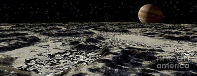 Surrealism Digital Art - Jupiters Moon, Europa, Covered by Ron Miller