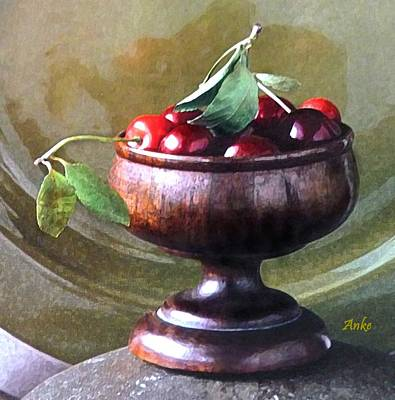 Stone Platform Painting - Just A Bowl Of Cherries by Anke Wheeler