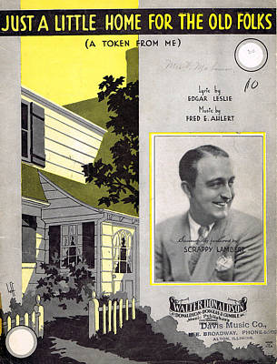 Old Sheet Music Photograph - Just A Little Home For The Old Folks by Mel Thompson