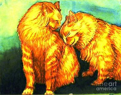 Orange Tabby Mixed Media - Just A Touch by DJ Laughlin
