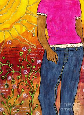 Colorful Art Journal Painting - Just Out For A Stroll by Angela L Walker