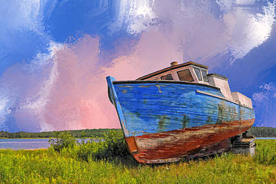 Scow Painting - Just Resting by Dominic Piperata