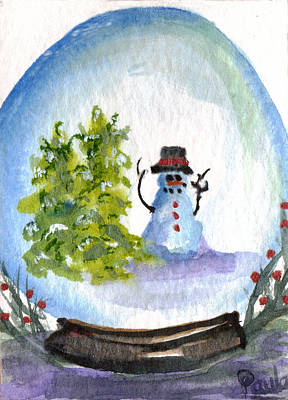 Painting - Just Waitin' Snowglobe by Paula Ayers