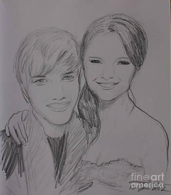 Justin And Selena Art Print by Amanda Li