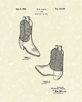Drawing - Justin Boot 1940 Patent Art by Prior Art Design
