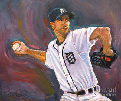 Detroit Tigers Painting - Justin Verlander Throws A Curve by Nora Sallows