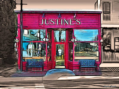 Justine Digital Art - Justine's Ice Cream Parlour by Stephen Younts