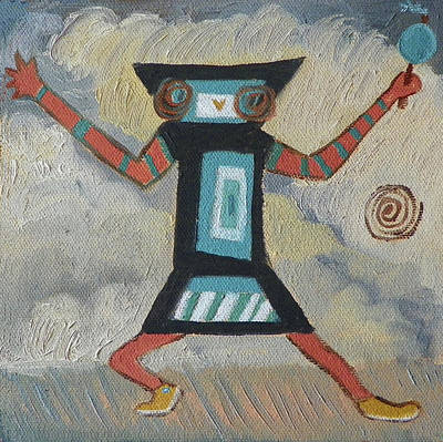Katsina Painting - K Is For Kachina Detail From Childhood Quilt Painting by Dawn Senior-Trask