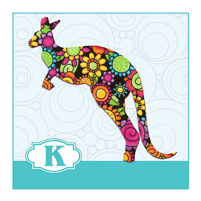 Education Painting - K Is For Kangaroo by Elaine Plesser