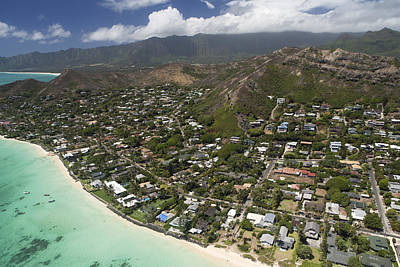 Kailua Aerial Art Print by Peter French