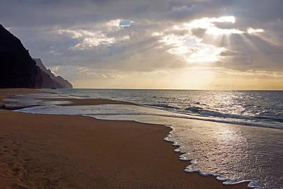 Kalalau Beach Photograph - Kalalau Beach Sunset Kauai by Kevin Smith