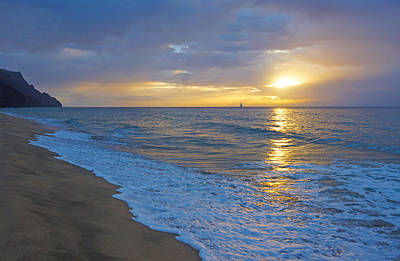 Kalalau Beach Photograph - Kalalau Sunset Kauai by Kevin Smith