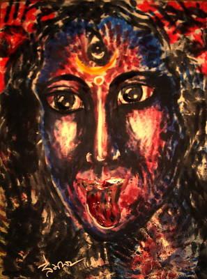 Hindu Goddess Drawing - Kali God And Nice Mom  by Sri Mala