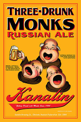 English Ale Drawing - Kanalin Three Drunk Monks by John OBrien