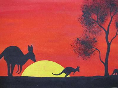 Kangaroo Sunset  Art Print by Courtney Adams