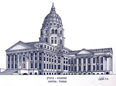 Drawing - Kansas State Capitol by Frederic Kohli