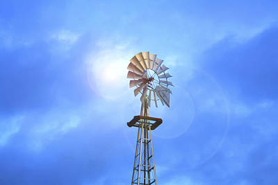 Kansas Windmill In The Sun Art Print