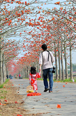 Two People Holding Hands Photograph - Kapok Road by Frank Chen