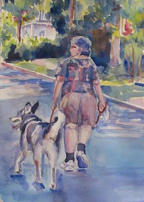 Huskie Wall Art - Painting - Karen And Ernie by Joyce Kanyuk