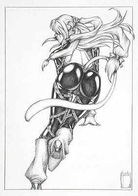 Warrior Drawing - Karma - The Black Cat by Sean Smith