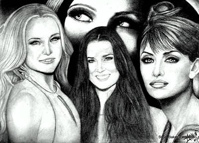 Demi Moore Drawing - Kate Hudson Demi Moore Penelope Cruz And Eyes Of Drew Barrymore by Steve Baker Sanfellipo