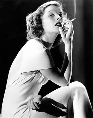 Colbw Photograph - Katharine Hepburn Smoking, 1930s by Everett