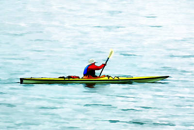 Kayak Out On The Bay Art Print by Tracie Kaska