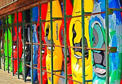 Kayaks In A Cage Art Print by Susan Leggett