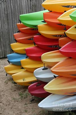 Kayaks Art Print by Kerryn Davis