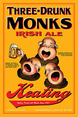 Three Drunk Monks Drawing - Keating Three Drunk Monks by John OBrien