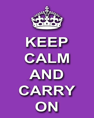 Keep Calm And Carry On Digital Art - Keep Calm And Carry On Poster Print Magenta Background by Keith Webber Jr