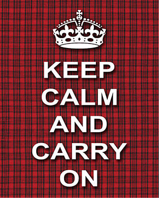 Keep Calm And Carry On Digital Art - Keep Calm And Carry On Poster Print Red Black Stripes Background by Keith Webber Jr