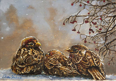 Winter Scenes Painting - Keeping Company by Enzie Shahmiri
