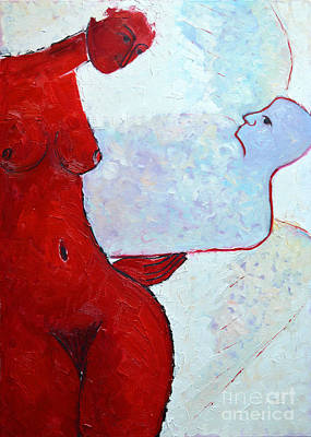 Guardian Angel Oil Painting - Keeping Her Guardian Angel In Her Hand by Ana Maria Edulescu
