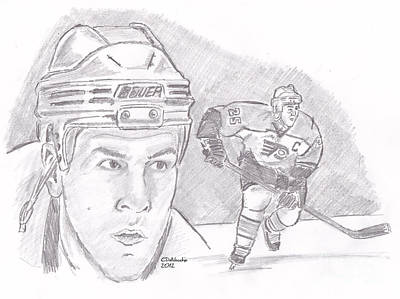 Drawing - Keith Primeau by Chris  DelVecchio