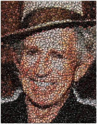 Keith Richards Bottle Cap Mosaic Art Print by Paul Van Scott