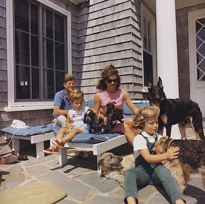 Kennedy Family And Their Many Dogs Art Print by Everett