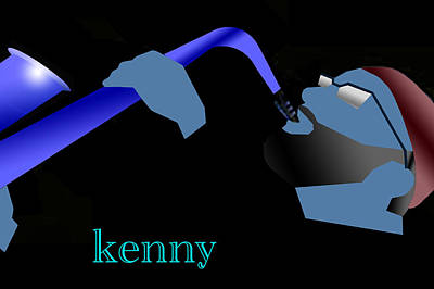 Digital Art - Kenny Garrett Blue by Victor Bailey