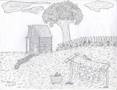 Old Washboards Drawing - Kentucky Cabin by Stacy Thornberry
