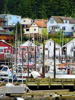 Port Town Digital Art - Ketchakan Alaska Marina by Mindy Newman