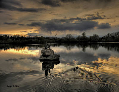 Ketring Lake Sunset Art Print by Stephen  Johnson