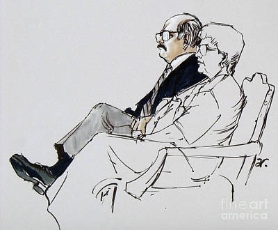 Observer Drawing - Key Court Observer And Wife by Armand Roy