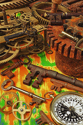 Photograph - Keys Gears And Compass by Garry Gay