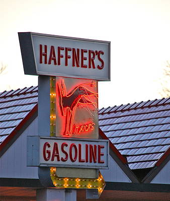 Photograph - Kicking Haffner's Gasoline Sign by Mary McAvoy