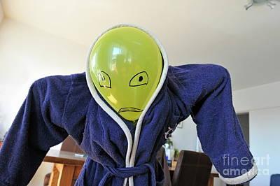 Bathrobe Photograph - Kid In Dad Bathrobe Hiding Face With Balloon by Sami Sarkis