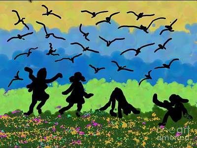 Seagull Digital Art - Kids by Anita V Bauer